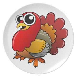 Cartoon Turkey Dinner Plate