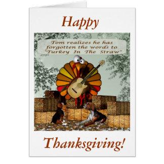 Cartoon Turkey Forgot words Beagle hay Card