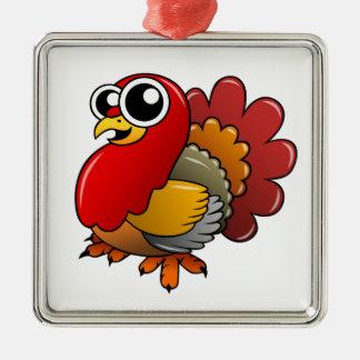 Cartoon Turkey Metal Ornament