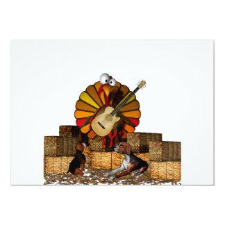 "Cartoon turkey on hay with guitar and beagles 5"" x 7"" invitation card"