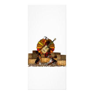 Cartoon turkey on hay with guitar and beagles customized rack card