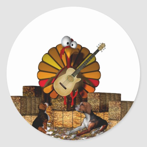 Cartoon turkey on hay with guitar and beagles sticker