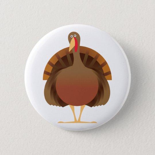 Cartoon Turkey Pinback Button
