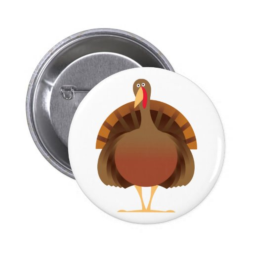 Cartoon Turkey Pinback Buttons