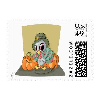 Cartoon Turkey Pumpkin Thanksgiving Stamp
