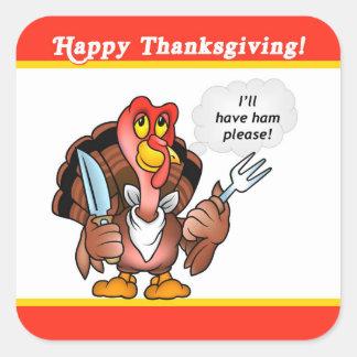 Cartoon Turkey Thanksgiving Sticker, Tin Label Square Sticker