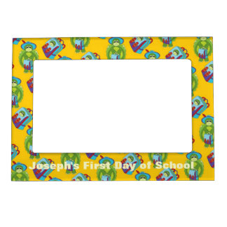 Cartoon Turtle and Backpack School Picture Frame Magnetic Photo Frame
