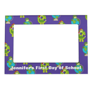 Cartoon Turtle and Globe School Picture Frame Magnetic Picture Frame