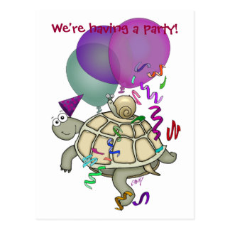 Cartoon turtle and snail birthday party invitation postcard