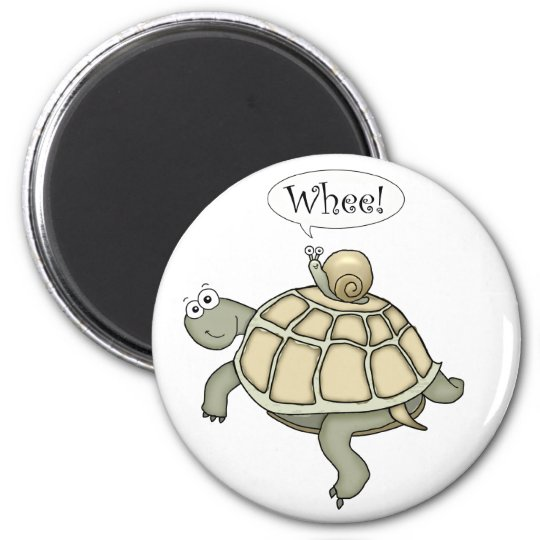 Cartoon turtle and snail Whee! Magnet gift.