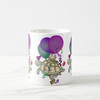 Cartoon turtle and snail with balloons. coffee mug