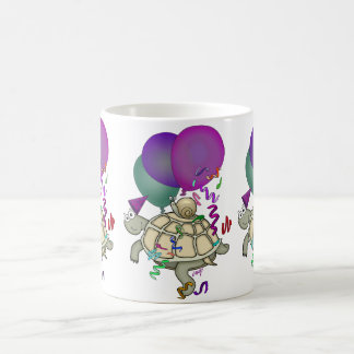 Cartoon turtle and snail with balloons. coffee mugs