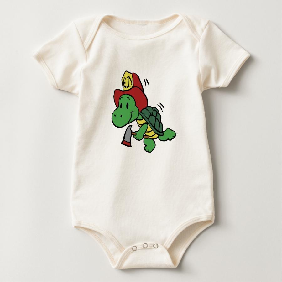 Cartoon turtle firefighter - turtle with axe baby bodysuit - Adorable Baby Bodysuit Designs