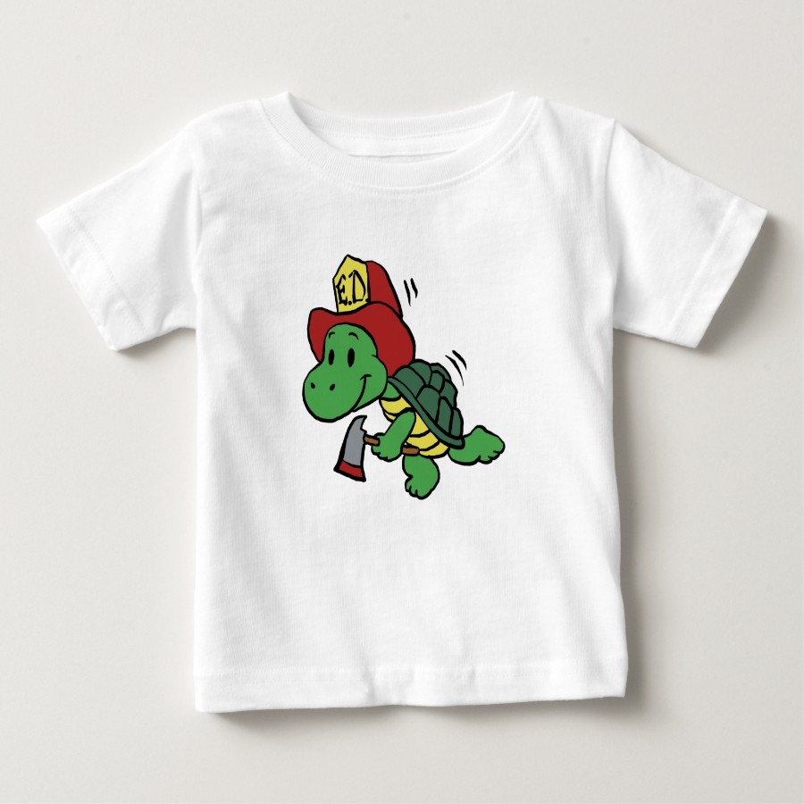 Cartoon turtle firefighter - turtle with axe baby T-Shirt - Soft And Comfortable Baby Fashion Shirt Designs
