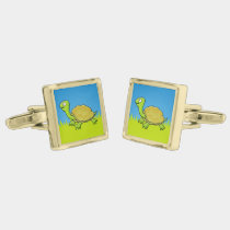 Cartoon Turtle Gold Cufflinks