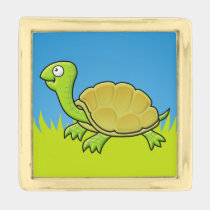 Cartoon Turtle Gold Finish Lapel Pin