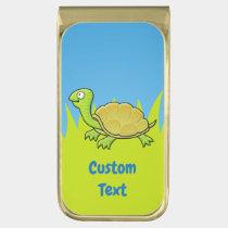 Cartoon Turtle Gold Finish Money Clip