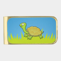 Cartoon Turtle Gold Finish Money Clip