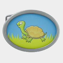 Cartoon Turtle Oval Belt Buckle