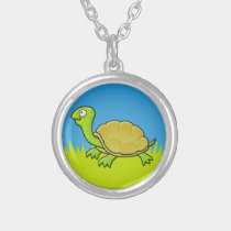 Cartoon Turtle Silver Plated Necklace