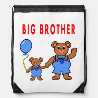 cartoon two bears red balloon brothers cinch bags