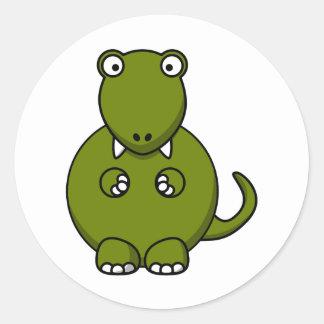 Cartoon tyannosaurus rex classic round sticker