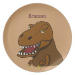 Cartoon Tyrannosaurus Rex Dinosaur Personalized Party Plate