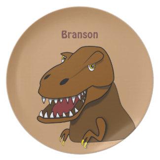 Cartoon Tyrannosaurus Rex Dinosaur Personalized Plate
