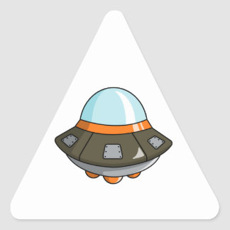 Cartoon U.F.O./Flying Saucer Triangle Sticker