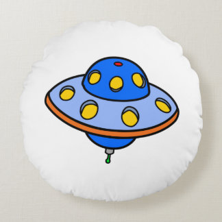 Cartoon UFO Flying Saucer Round Pillow