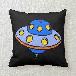 Cartoon UFO Flying Saucer Throw Pillow
