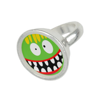 cartoon ugly monster smiley rings