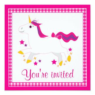 Cartoon Unicorn with Stars Card