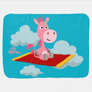Cartoon Unicorn's Magic Carpet Ride Baby Blanket