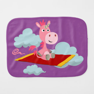 Cartoon Unicorn's Magic Carpet Ride Burp Cloth