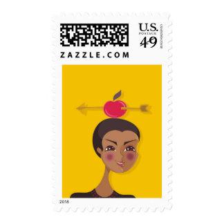 cartoon vector girl (sagittarius) postage stamps