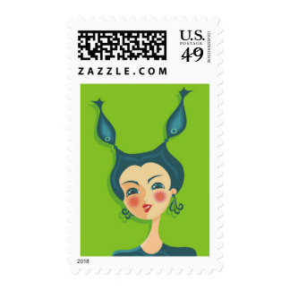 cartoon vector girl (zodiac sign) postage