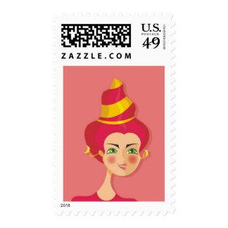 cartoon vector girl (zodiac sign) postage stamp
