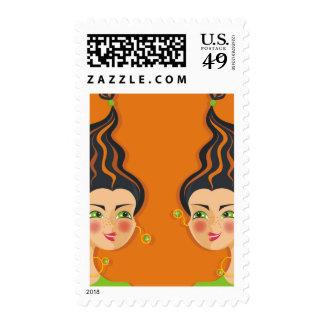 cartoon vector girl (zodiac sign) stamp