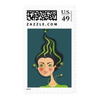 cartoon vector girl (zodiac sign) stamps