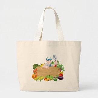 Cartoon Vegetable Gardener Sign Large Tote Bag