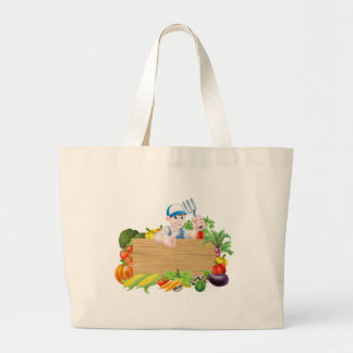 Cartoon Vegetables Gardener Sign Large Tote Bag