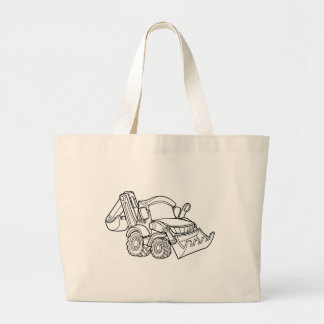 Cartoon Vehicle Bulldozer Digger Large Tote Bag