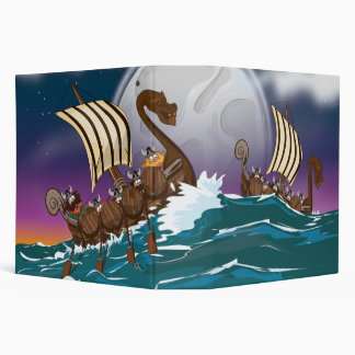 Cartoon Viking invasion fleet 3 Ring Binder