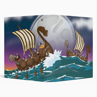 Cartoon Viking invasion fleet Binder