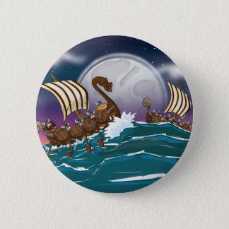 Cartoon Viking invasion fleet Button