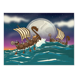 Cartoon Viking invasion fleet Card