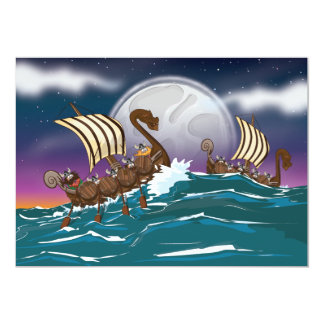 Cartoon Viking invasion fleet Card