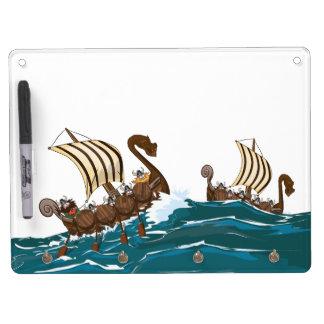 Cartoon Viking invasion fleet Dry Erase Board With Keychain Holder
