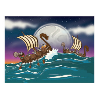 Cartoon Viking invasion fleet Personalized Invites